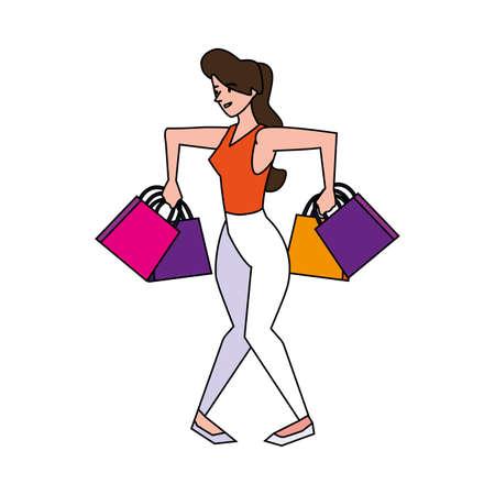 Photo pour woman shopping design, Commerce market store retail paying and buying theme Vector illustration - image libre de droit