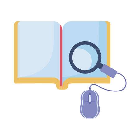 Illustration pour book and computer mouse, online education, training or learning vector illustration design - image libre de droit