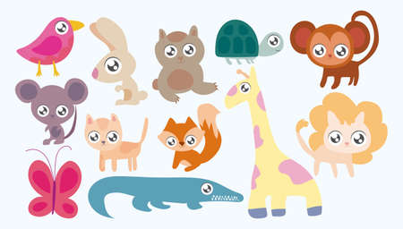 Photo pour set of animals in kawaii style vector illustration design - image libre de droit