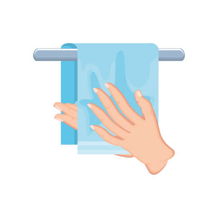 hand cleaning with towel on white background vector illustration design
