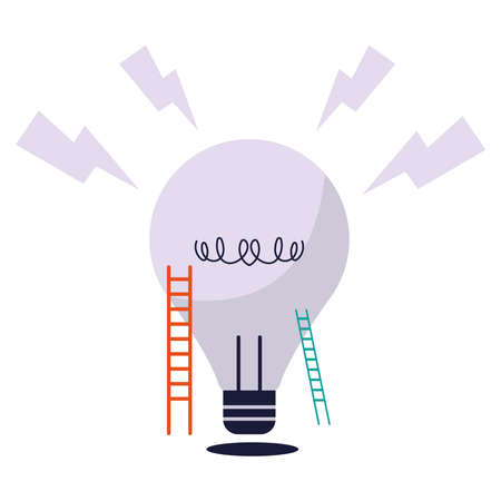 ladder of thoughts and generating ideas vector illustration desing