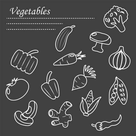 Ilustración de healthy vegetables icon set over black background, line style, vector illustration - Imagen libre de derechos