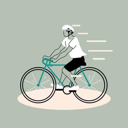 Illustration pour young man riding bicycle, man cyclist vector illustration design - image libre de droit