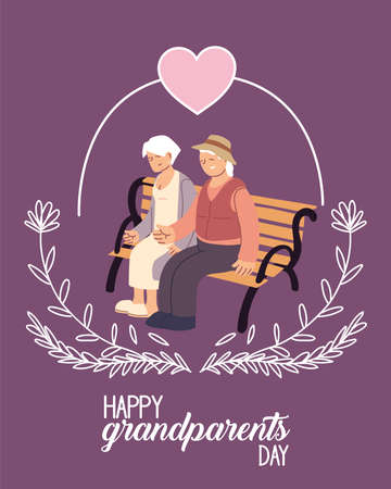 Illustration for Grandmother and grandfather on bench of happy grandparents day design, Old woman and man theme Vector illustration - Royalty Free Image