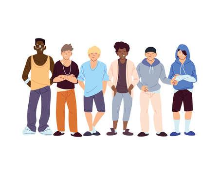 Illustration for men cartoons design, Cultural and friendship diversity theme Vector illustration - Royalty Free Image
