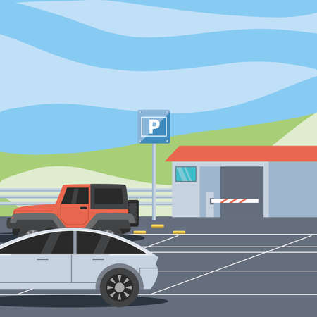 Illustration for parking zone with ticket machine and barricade scene vector illustration design - Royalty Free Image
