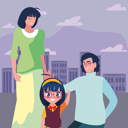 Illustration for parents with her daughter student back to school vector illustration - Royalty Free Image