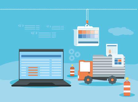Illustration for laptop with webpage under cosntruction vector illustration design - Royalty Free Image