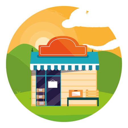 Illustration pour Shop design, Store market shopping commerce retail buy and paying theme Vector illustration - image libre de droit