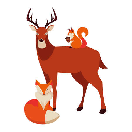 Illustration for deer fox and squirrel happy autumn season vector illustration - Royalty Free Image