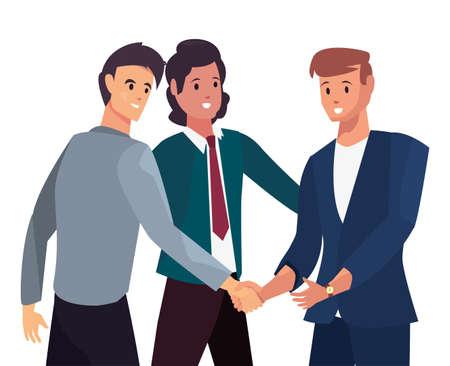 Illustration pour businesspeople handshake agreement meeting flat design vector illustration - image libre de droit