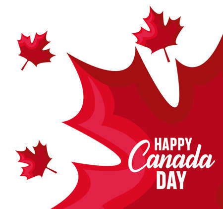 Illustration pour poster of happy canada day with maple leafs vector illustration design - image libre de droit