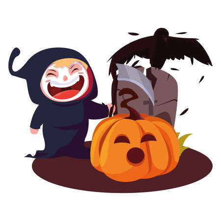 Illustration pour boy in death costume halloween with pumpkin and gravestone vector illustration - image libre de droit