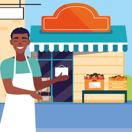 Illustration for salesman with fruits store facade building vector illustration design - Royalty Free Image