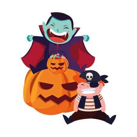Ilustración de boys in Halloween pirate costume with pumpkins vector illustration - Imagen libre de derechos
