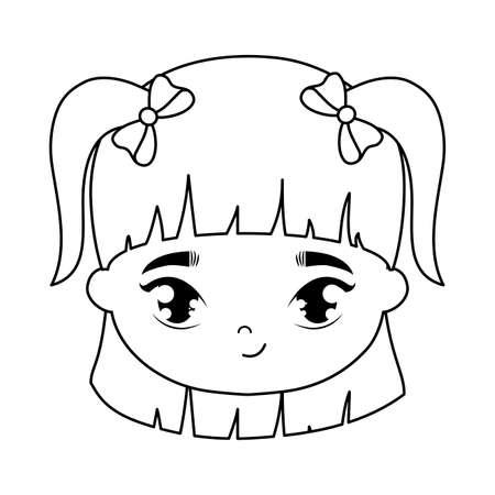 Illustration for head of cute little girl avatar character vector illustration design - Royalty Free Image