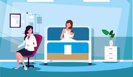 Illustration for mother with newborn in stretcher hospitalization room vector illustration design - Royalty Free Image