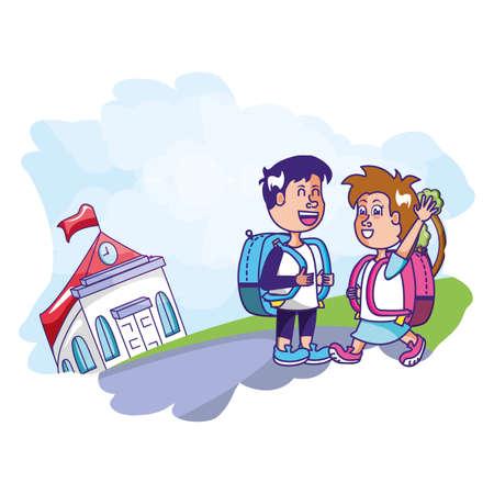 Illustration pour cute students with facade building school vector illustration design - image libre de droit
