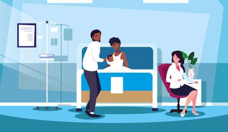 Illustration for parents with newborn in stretcher hospitalization room vector illustration design - Royalty Free Image