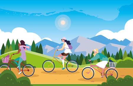 Illustration pour women riding bike in landscape with signage for cyclist vector illustration design - image libre de droit