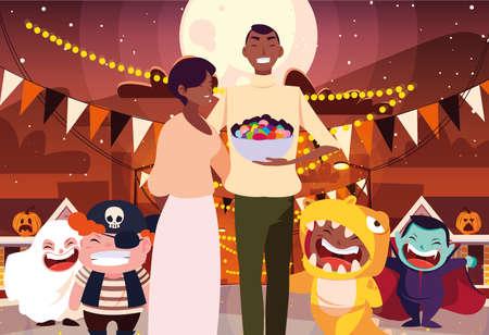 Illustration pour costumed children design, Halloween holiday horror scary celebration autumn dark and party theme Vector illustration - image libre de droit