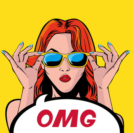Illustration pour retro red hair woman cartoon with omg bubble design, Pop art vintage and fashion theme Vector illustration - image libre de droit