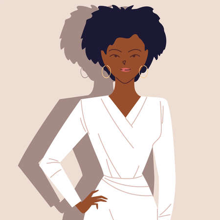 Illustration for portrait of successful afro businesswoman vector illustration design - Royalty Free Image
