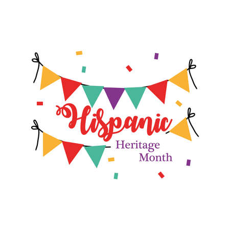 Illustration pour national hispanic heritage month with banner pennant design, culture and latino theme Vector illustration - image libre de droit