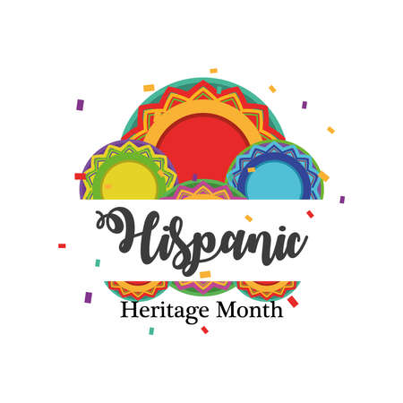 Illustration pour national hispanic heritage month with circles design, culture and latino theme Vector illustration - image libre de droit