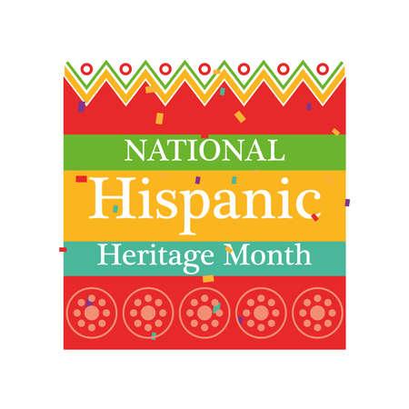 Illustration pour national hispanic heritage month with geometric design, culture and latino theme Vector illustration - image libre de droit