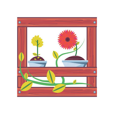 Illustration pour flowers inside pots in shelf detailed style icon design, natural floral nature plant ornament garden decoration and botany theme Vector illustration - image libre de droit