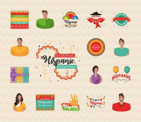 Illustration pour national hispanic heritage month bundle of icons design, culture and latino theme Vector illustration - image libre de droit