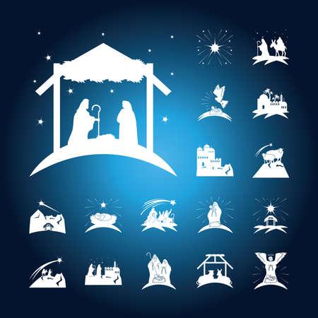 Illustration pour nativity, birth of christ traditional celebration religious, icons blur blue background vector illustration - image libre de droit