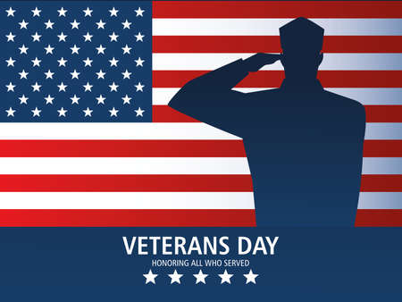 Foto per happy veterans day, greeting card soldier salute and US flag memorial vector illustration - Immagine Royalty Free