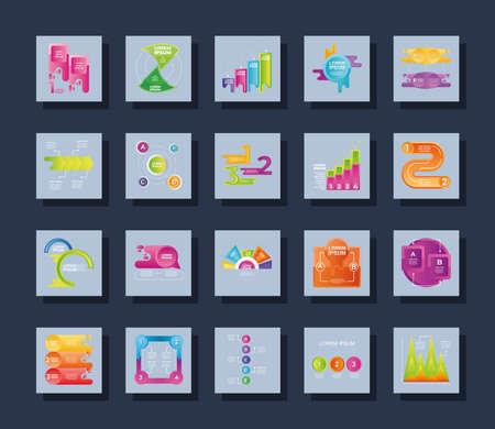 Illustration pour infographic set different diagram, workflow, strategy data square icons vector illustration - image libre de droit
