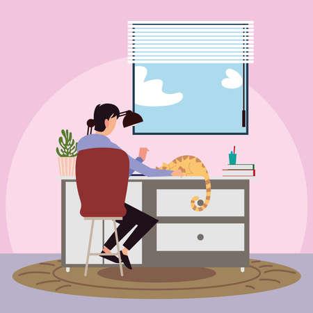 Illustration pour back view man with cat on desk in the room vector illustration vector illustration - image libre de droit