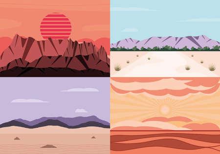 Illustration pour landscape desert arid nature set - image libre de droit