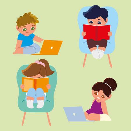 Illustration for little kids studying book laptop - Royalty Free Image