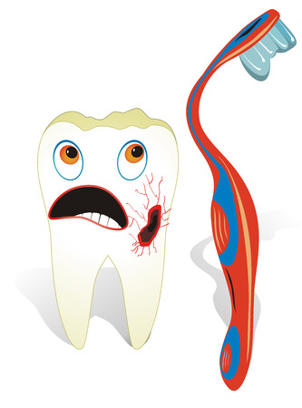Vector illustration from teeth care concept, one unhealthy molar tooth with toothbrush.