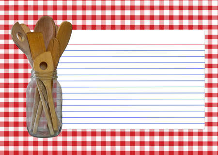 Red and White Gingham - Spoon Jar - Recipe Card  All elements created by Denise Kappa.