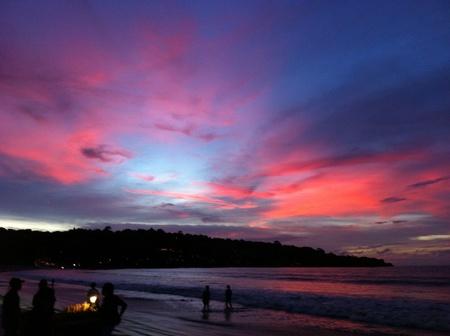 Bluish sunset on Bali Jimbaran beach
