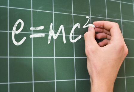 RelativitÀtstheorie    hand writing on a chalkboard