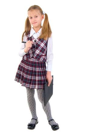 Cute Teen Schoolgirl. Isolated On White Background.