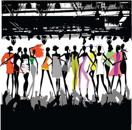 Ilustración de Fashion Show Crowd Vector - Imagen libre de derechos