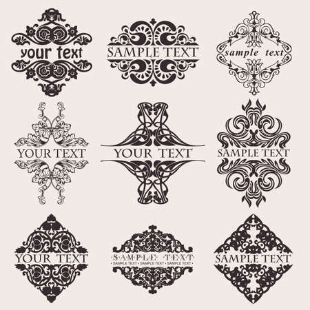 Illustration for Set Of Nine Ornate Banner Text Quad - Royalty Free Image