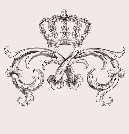 Illustration for One Color Royal Crown Vintage Curves Banner - Royalty Free Image