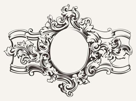 Illustration pour Antique Ornate Frame Engraving - image libre de droit