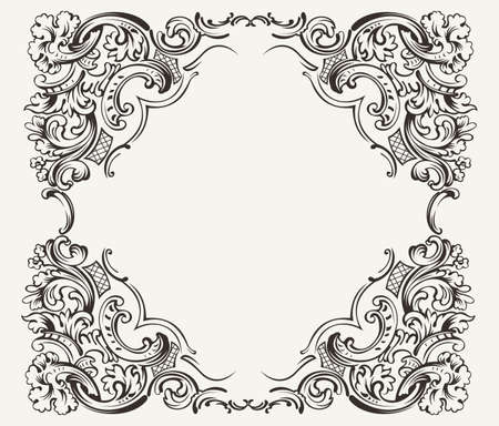 Illustration for Old Vintage High Ornate Frame - Royalty Free Image