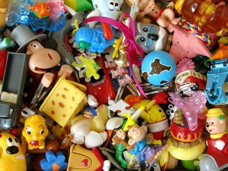 Foto de set of small colorful child toys                                - Imagen libre de derechos