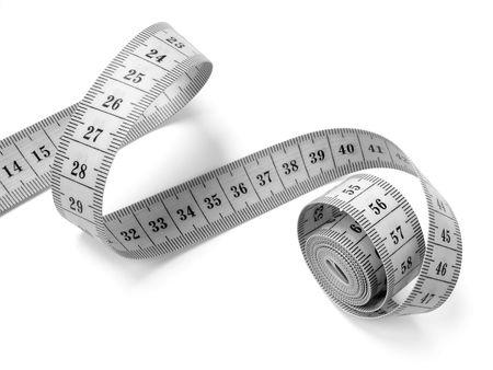 Photo pour measuring tape fragment on white                                - image libre de droit